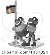Clipart Of A Black Panther School Mascot Character Stopping Another From Using A Crosswalk At The Wrong Time Symbolizing Safety Royalty Free Vector Illustration