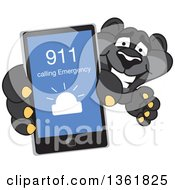 Black Panther School Mascot Character Holding Up A Smart Phone And Calling An Emergency Number Symbolizing Safety
