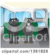 Clipart Of Black Panther School Mascot Characters Sitting On A Bus Bench Symbolizing Safety Royalty Free Vector Illustration