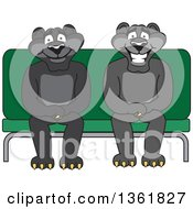 Clipart Of Black Panther School Mascot Characters Sitting On A Bench Symbolizing Safety Royalty Free Vector Illustration