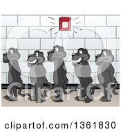 Clipart Of Black Panther School Mascot Characters Standing In Line During A Fire Drill Symbolizing Safety Royalty Free Vector Illustration