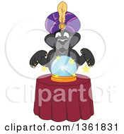 Poster, Art Print Of Black Panther School Mascot Character Fortune Teller Looking Into A Crystal Ball Symbolizing Being Proactive