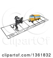 Clipart Of A Black Panther School Mascot Character And Bus Over Week Days Symbolizing Being Proactive Royalty Free Vector Illustration