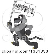 Clipart Of A Black Panther School Mascot Character Running With A Flag Symbolizing Pride Royalty Free Vector Illustration
