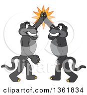 Clipart Of Black Panther School Mascot Characters High Fiving Symbolizing Pride Royalty Free Vector Illustration