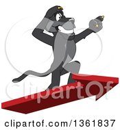 Clipart Of A Black Panther School Mascot Character Standing On An Arrow And Pointing Symbolizing Leadership Royalty Free Vector Illustration