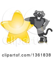Clipart Of A Black Panther School Mascot Character Leaning On A Star Symbolizing Excellence Royalty Free Vector Illustration