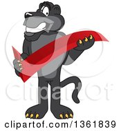 Black Panther School Mascot Character Holding A Check Mark Symbolizing Acceptance