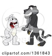 Clipart Of A Black Panther School Mascot Character Shaking Hands With A Bulldog Symbolizing Acceptance Royalty Free Vector Illustration