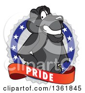 Clipart Of A Black Panther School Mascot Character On A Pride Badge Royalty Free Vector Illustration