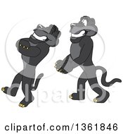 Black Panther School Mascot Characters Doing A Trust Fall Exercise Symbolizing Being Dependable