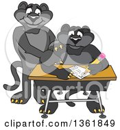 Black Panther School Mascot Character Tutoring A Worried Student Symbolizing Compassion