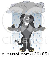 Clipart Of A Black Panther School Mascot Character Shrugging In The Rain Symbolizing Acceptance Royalty Free Vector Illustration