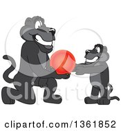 Clipart Of A Black Panther School Mascot Character Giving A Cub A Ball Symbolizing Compassion Royalty Free Vector Illustration by Toons4Biz
