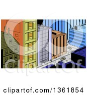 Retro Cartoon City Street Scene From Above