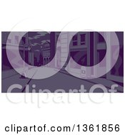 Clipart Of A City Street Scene At Night Royalty Free Vector Illustration by Clip Art Mascots