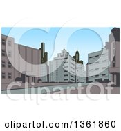 Clipart Of A Retro Toned City Street Scene Royalty Free Vector Illustration by Clip Art Mascots