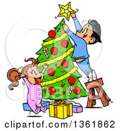 Cartoon Children Trimming A Christmas Tree Together