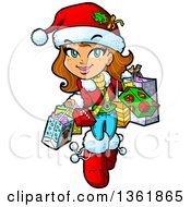 Clipart Of A Cartoon Happy Brunette Caucasian Girl Carrying Christmas Shopping Bags Royalty Free Vector Illustration by Clip Art Mascots