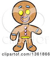 Clipart Of A Cartoon Gingerbread Cookie Man Presenting Royalty Free Vector Illustration
