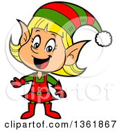 Clipart Of A Cartoon Happy Presenting Female Christmas Elf Royalty Free Vector Illustration