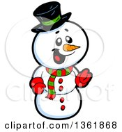 Clipart Of A Cartoon Jolly Christmas Snowman Royalty Free Vector Illustration
