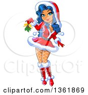 Cartoon Sexy Blue Haired Christmas Painup Woman In A Santa Suit Holding Out Mistletoe