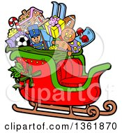 Clipart Of A Cartoon Santas Christmas Sleigh With Holly Toys And Gifts Royalty Free Vector Illustration
