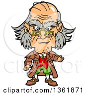 Clipart Of A Cartoon Caricature Of Ebenezer Scrooge Being Angry At Christmas Royalty Free Vector Illustration by Clip Art Mascots