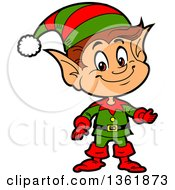 Clipart Of A Cartoon Presenting Happy Male Chistmas Elf Royalty Free Vector Illustration