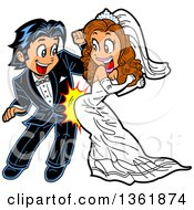 Clipart Of A Cartoon Happy Wedding Couple Dancing And Grinding Royalty Free Vector Illustration by Clip Art Mascots #COLLC1361874-0189