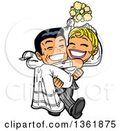 Clipart Of A Cartoon Happy Wedding Groom Carrying His Bride Royalty Free Vector Illustration