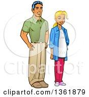Poster, Art Print Of Cartoon Suburban Husband Standing With His Pregant Wife