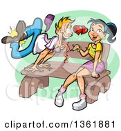 Clipart Of A Cartoon Blond White Guy Going Crazy Over A Pretty Young Woman Sitting On A Bench Royalty Free Vector Illustration