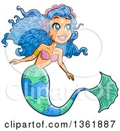 Clipart Of A Happy Blue Haired Female Mermaid Looking Up To The Right Royalty Free Vector Illustration by Clip Art Mascots