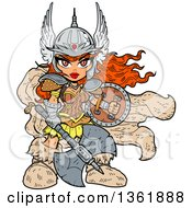 Clipart Of A Cartoon Red Haired Anime Warrior Princess Holding A Shield And Battle Axe Royalty Free Vector Illustration