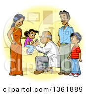 Clipart Of A Happy Indian Family Seeing Their Doctor For Vaccines Royalty Free Vector Illustration by Clip Art Mascots