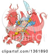 Clipart Of A Cartoon Blue Haired Anime Warrior Princess Holding A Spear And Flying On A Dragon Royalty Free Vector Illustration