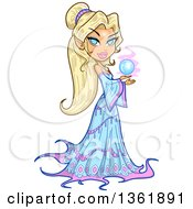 Clipart Of A Blond Haired Blue Eyed Caucasian Mythical Elf Queen Sorcerers Holding A Crystal Ball Royalty Free Vector Illustration