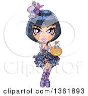 Cartoon Black Haired Pink Eyed Goth Girl Trick Or Treating With A Halloween Jackolantern Pumpkin Basket