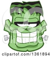 Clipart Of A Cartoon Halloween Frankenstein Face Royalty Free Vector Illustration