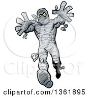 Clipart Of A Cartoon Halloween Mummy Reaching And Walking Forward Royalty Free Vector Illustration