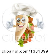 Clipart Of A Cartoon Chef Gourmet Souvlaki Kebab Sandwich Mascot Giving Two Thumbs Up Royalty Free Vector Illustration
