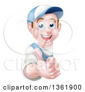 Clipart Of A Happy Young Brunette Caucasian Mechanic Man In Blue Wearing A Baseball Cap Giving A Thumb Up Around A Sign Royalty Free Vector Illustration