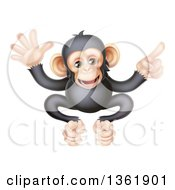 Clipart Of A Cartoon Black And Tan Happy Baby Chimpanzee Monkey Waving And Pointing Royalty Free Vector Illustration by AtStockIllustration