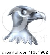Clipart Of A Metal Silver Bald Eagle Head Royalty Free Vector Illustration