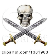 Clipart Of An Engraved Pirate Skull Above Crossed Swords Royalty Free Vector Illustration by AtStockIllustration