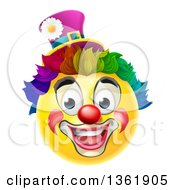 Clipart Of A 3d Yellow Clown Smiley Emoji Emoticon Face With A Rainbow Wig Royalty Free Vector Illustration by AtStockIllustration