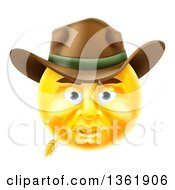 Clipart Of A 3d Yellow Male Cowboy Smiley Emoji Emoticon Face Wearing A Hat And Chewing On Straw Royalty Free Vector Illustration by AtStockIllustration