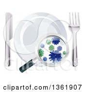 Clipart Of A 3d Magnifying Glass Revealing Germs And Bacteria On A Plate And Silverware Royalty Free Vector Illustration